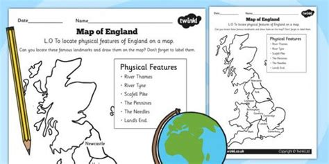 physical features of worksheets geography