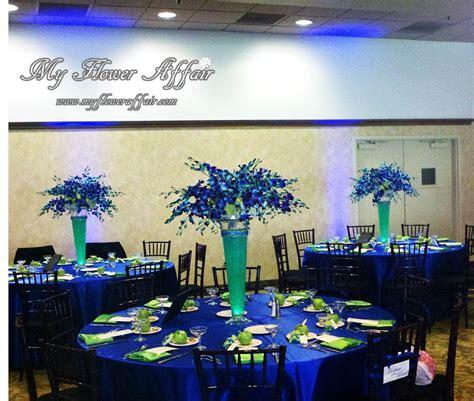 cobalt blue  lime green wedding flowers  custom