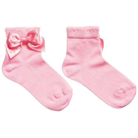 Story Loris  Girls Pink Socks with Diamanté Bow