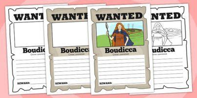 Boudicca Wanted Poster Template  Boudicca, Poster, Template  Ancient Rome Pinterest