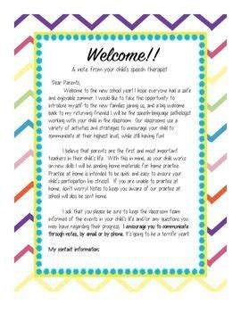 speech therapy  letter  parents letter