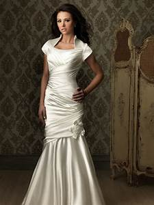 Trumpet mermaid cap sleeve silk satin ruched modest for Wedding dress with collar
