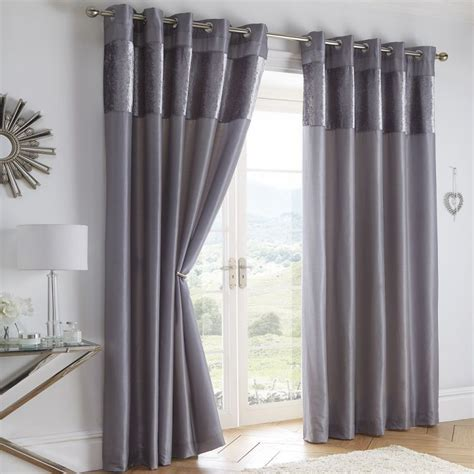 Boulevard   Grey   Velvet Border   Eyelet   Curtains