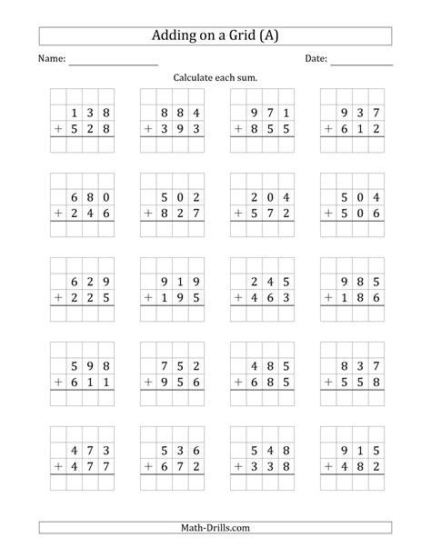 3 digit by 3 digit multiplication worksheets on grid paper