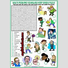 Health Problems, Illnesses, Ailments Esl Printable Word Search Puzzle Worksheet For Kids Enkku