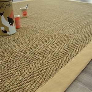 Tapis De Jonc : tapis jonc de mer bihar fin chevron ganse coton beige 140 x 200 cm ~ Teatrodelosmanantiales.com Idées de Décoration