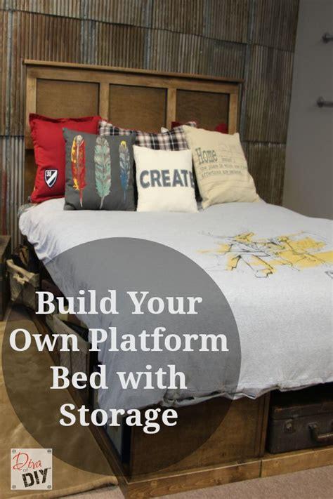 diy platform bed  storage