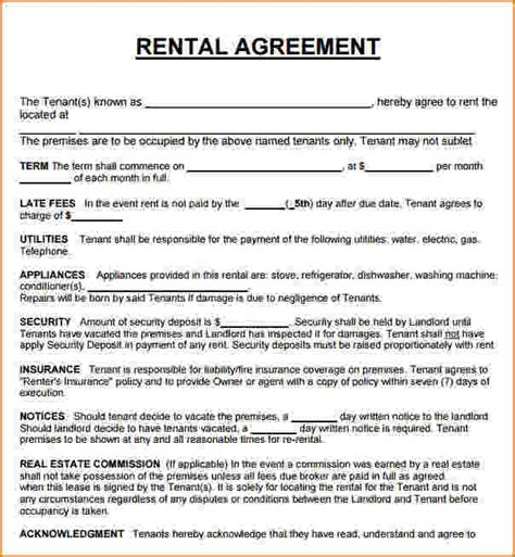 rent   lease agreement template business