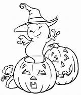 Ghost Coloring Pages Printable Halloween Colouring Pumpkin sketch template