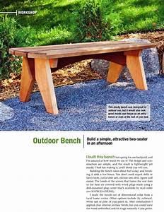 Outdoor Bench Plans • WoodArchivist
