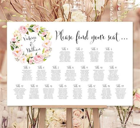 wedding seating chart poster floral wreath  print ready