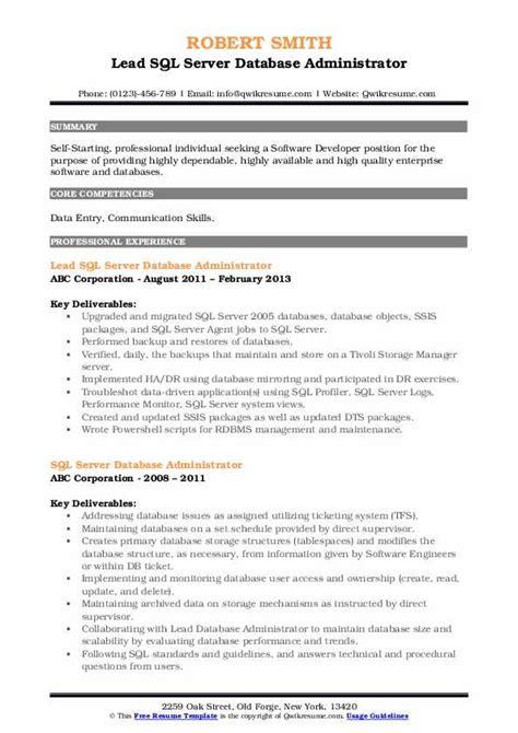 sql server  administrator resume samples qwikresume