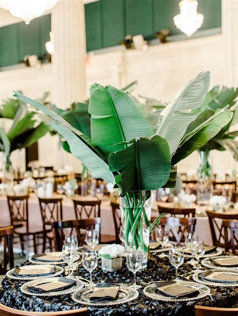 green tropical leaves wedding ideas   puff