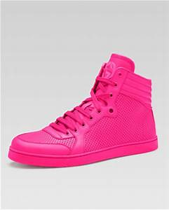 Gucci Coda Neon Leather High Top Sneaker Pink Neiman Marcus