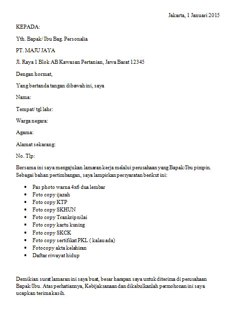 contoh surat lamaran kerja bagi lulusan smk ben