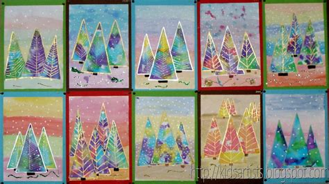 christmas art projects for middle schoolers artists water color cut into trees and snow added cards and creative
