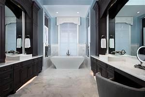 Luxury, Master, Bathroom, With, Dark, Cabinets, That, Beautiful