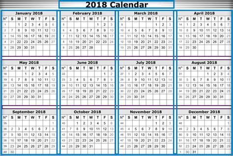 2018 Yearly Calendar Template 2018 Calendar Template Word Excel
