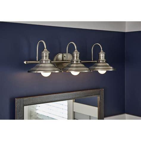 allen roth 3 light hainsbrook antique pewter bathroom vanity light 79 99 lowes bathroom