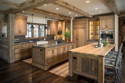 Kitchen Cabinets Idea - rustic wood countertops kitchen rustic with beige wall black counter beeyoutifullife com