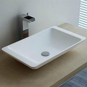 vasque a poser en resine rectangulaire 59x34 cm mineral With salle de bain design avec vasque à poser en verre rectangulaire