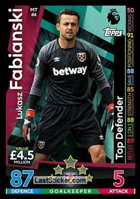 Card MT44: Lukasz Fabianski - Topps English Premier League ...