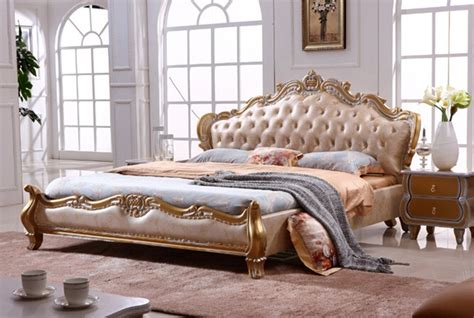 european style king size golden color leather beds bedroom