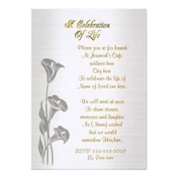 memorial announcement wording celebration of invitation calla lilies 5 quot x 7