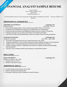 finance analyst resume template financial analyst resume sle resume prep