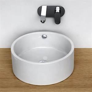 vasque a poser ronde 41 cm ceramique pure With salle de bain design avec vasque a poser ronde blanche