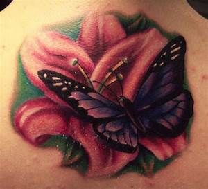 Realistic Lily Flower With Butterfly Tattoo Design For ...