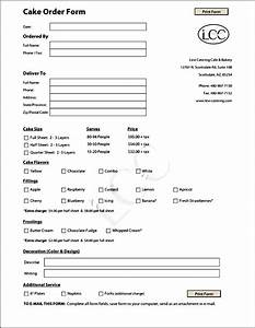 cake order form template free sample order templates With invoice for cake order