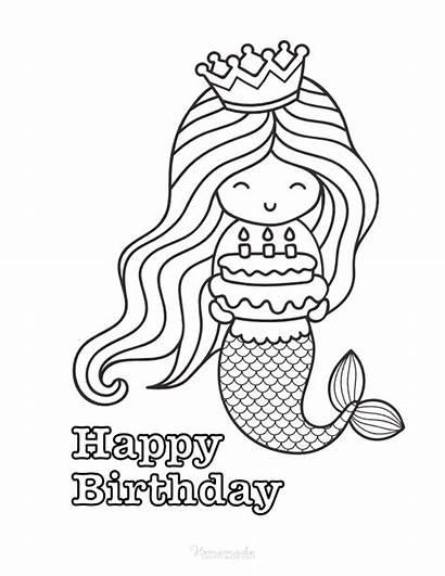 Coloring Birthday Happy Mermaid Easy Gifts Homemade