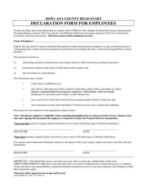 employee declaration form   templates   word