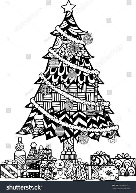 hand drawn christmas tree zentangle style stock vector