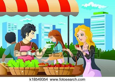 clipart  people shopping  farmers market