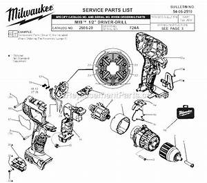 Milwaukee 2606-20 Parts List And Diagram