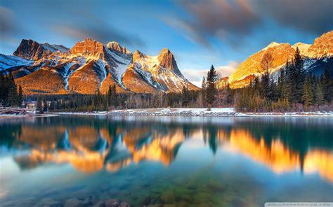 alberta canada beautiful winter reflections