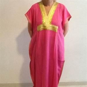 djellaba rose brodee or maroc robe tunique achat vente With robe maison marocaine