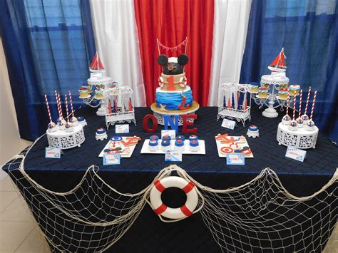 Nautical And Mickey Mouse Theme Party For Baby's First
