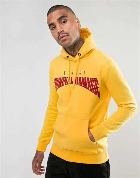 Yellow Sweat T Shirt criminal damage hoodie in yellow with logo sweats