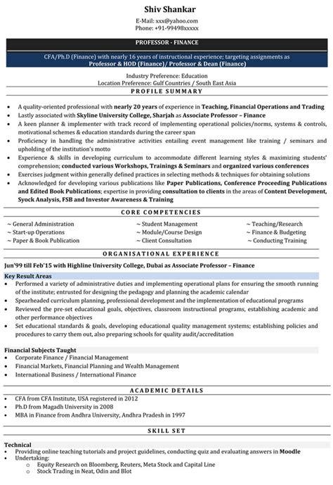 sample cv lecturer business management academic cv