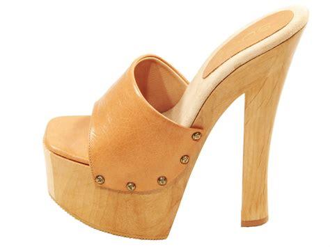 Soca Shoes Candy Tan High Heel Wood Platform Slip On Mules