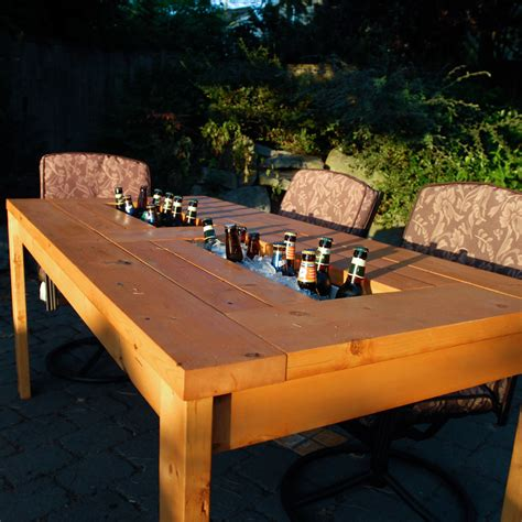 Backyard Table by White Patio Table With Built In Wine Coolers