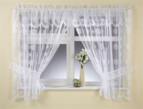 Daisy Flowers Lace Net Curtain Window Tieback Set White Or Cream Free Postage House Curtains Design In Sri Lanka Can I Hang Over Vertical Blinds Target White Room Darkening Wood Curtain Pole Brackets Standard Shower Liner Sizes Wooden Recess 35mm Teal Check Fabric To Sew A