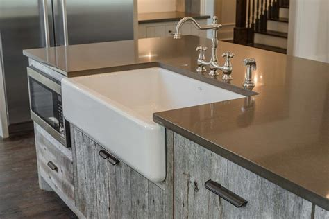 barn style sink gray barn wood kitchen island with farm sink cottage