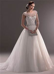 classic ball gown illusion neckline cap sleeve tulle With illusion sleeve wedding dress