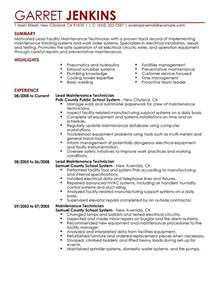 hvac technician sample resumes facility lead maintenance resume examples maintenance