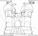 Castle Bouncy Bounce Coloring Clipart Pages Vector Outline Drawing Clip Lineart Illustration Royalty Visekart Printable Template Getcolorings Getdrawings Print sketch template