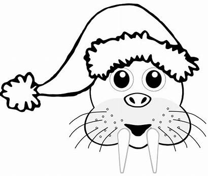 Santa Cartoon Head Hat Walrus Coloring Clip